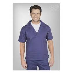 Camisa Brim Manga Curta Azul