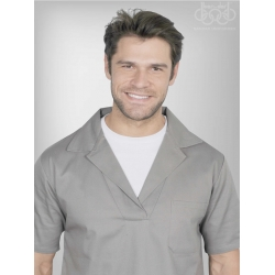 Camisa Brim Manga Curta Cinza